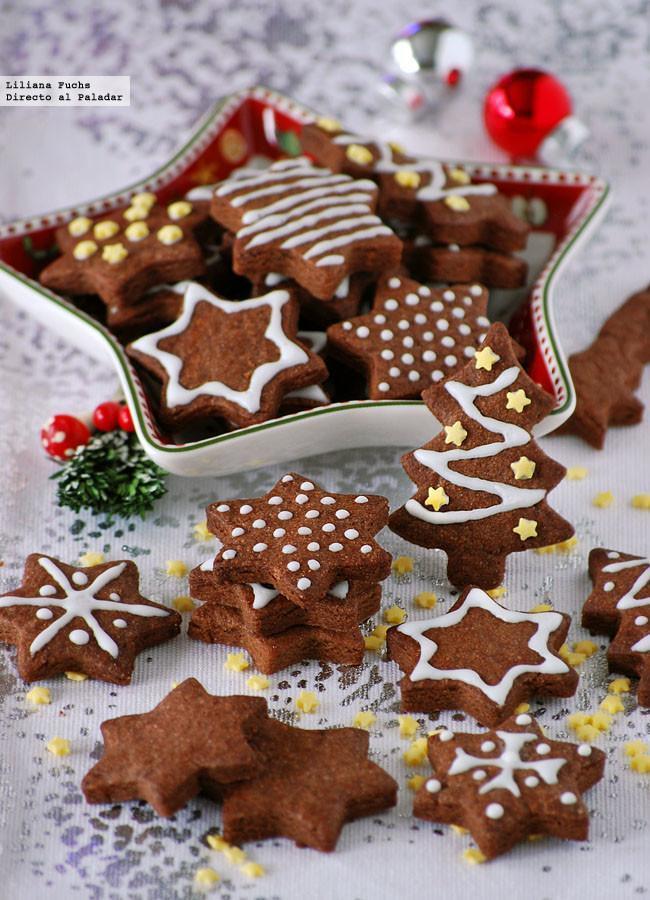 Galletas Navideñas De Chocolate y Mazapán. Receta de Navidad