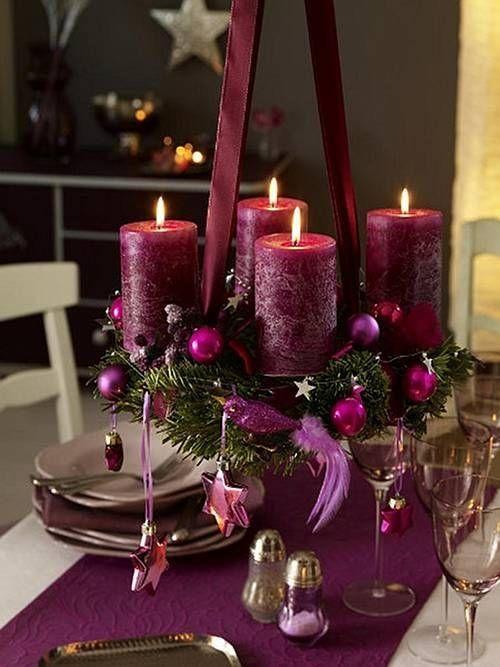 Decoracióncon velas moradas para navidad