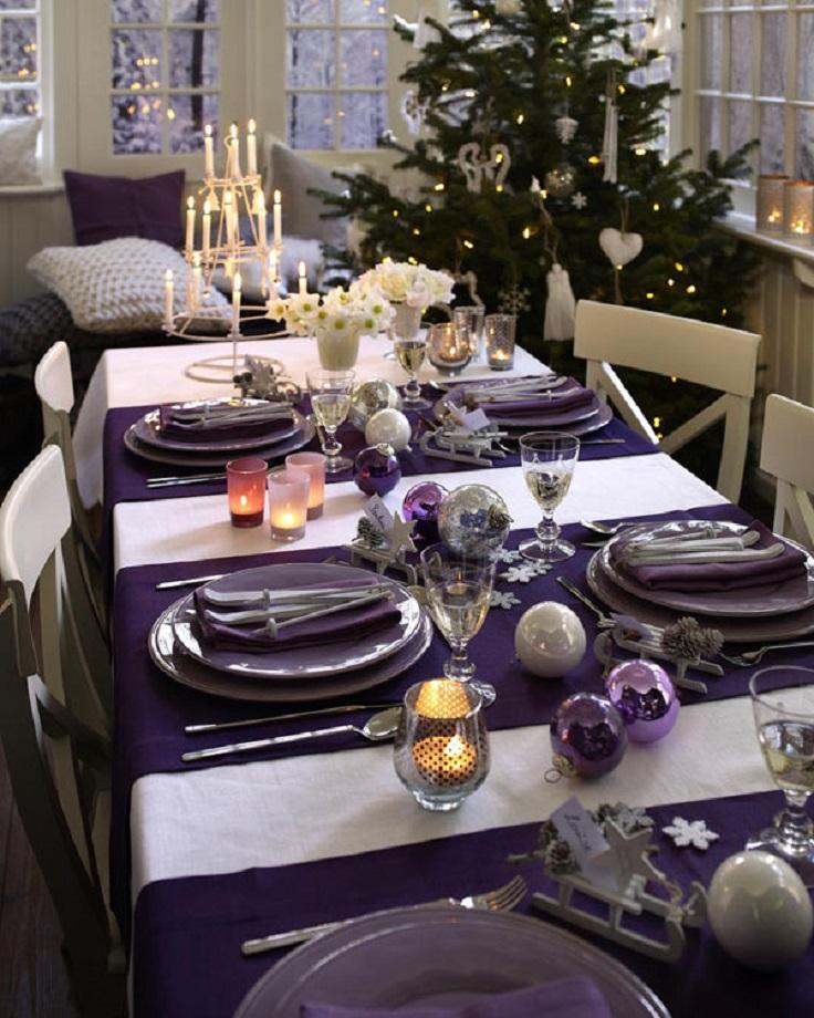 Ideas para decorar el comedor en color morado para navidad