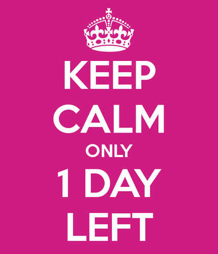 Imagen keep calm only 1 day left