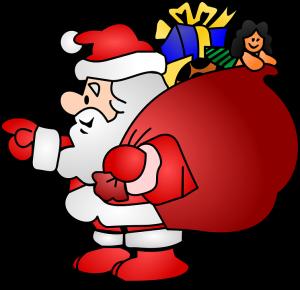 Santa Claus repartiendo regalos imagen png