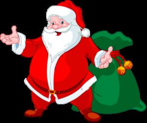 Santa con bolsa de regalos imagen png