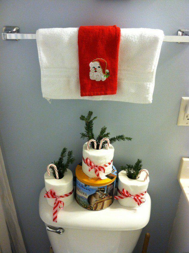 Sencillas decoracion navideñas para el baño