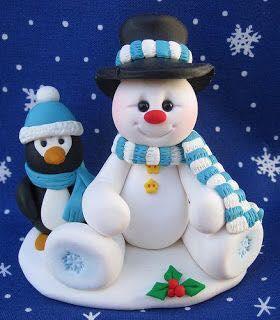 Decoracion de muñeco de nieve para pastel de navidad