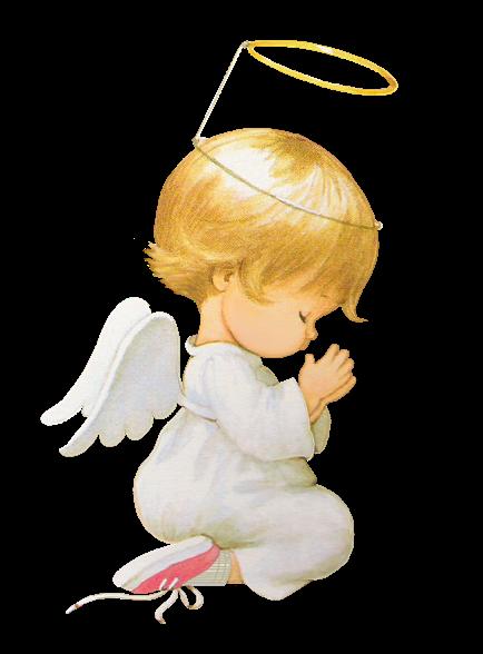 Imagen png de un angelito arrodillado para navidad