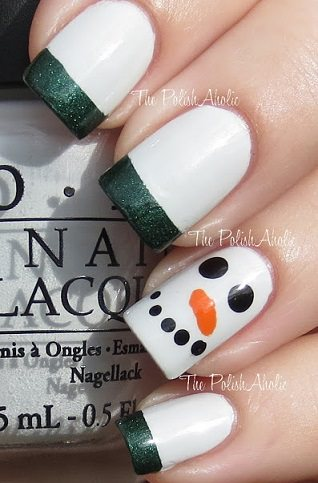 decoracion navideña uñas-muñeco-nieve