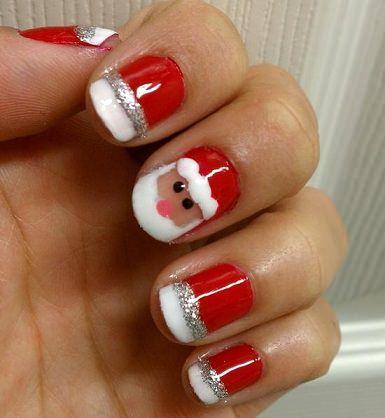 decorar uñas navidad-papa-noel