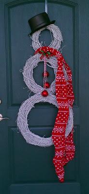 Decora tu puerta con muñecos de nieve de coronas navideñas