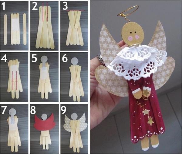 Ideas para hacer angeles de navidad con palos de helado