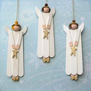 Manualidad para hacer angeles de navidad con palitos de helados