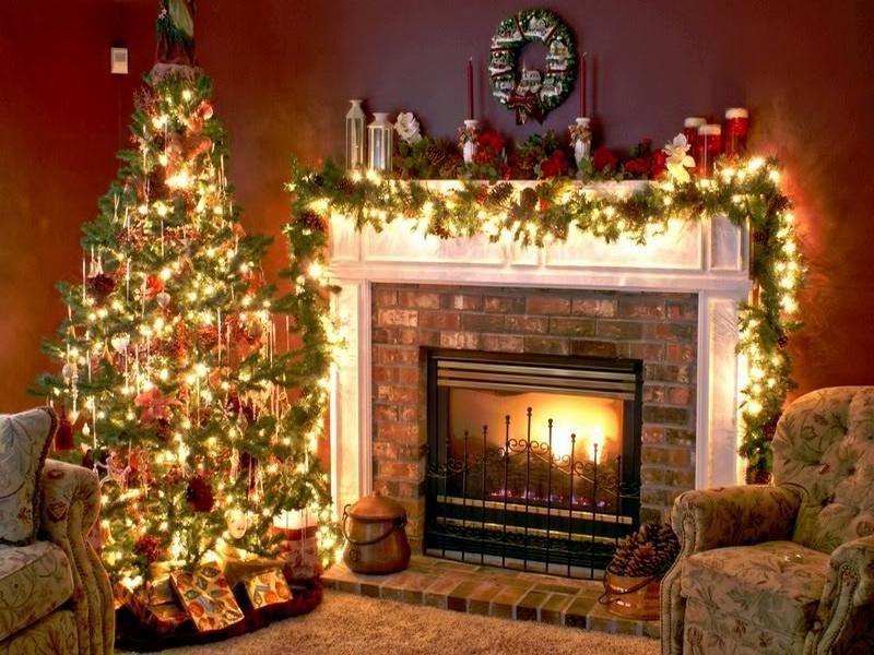 Decoracion de la chimenea en navidad ideas