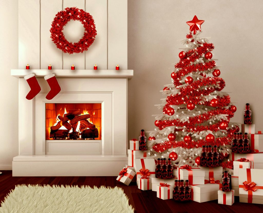 Decoracion navideña de la chimenea