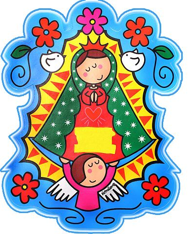 Caricatura de la virgen de Guadalupe para compartir