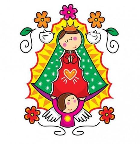 Dibujo de caricatura de la virgen de Guadalupe