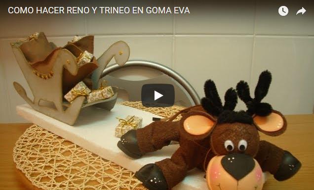 Manualidad Navideña Reno y Trineo en Goma Eva Facil De Hace