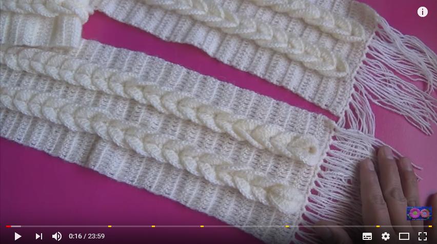 Bufanda para dama tejida a crochet