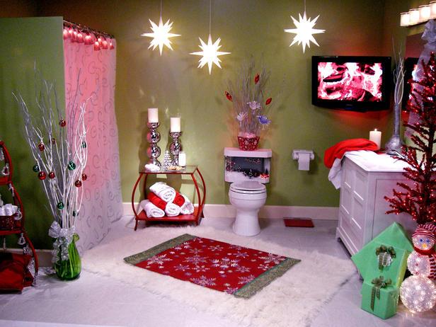 Ambiente navideño en el baño