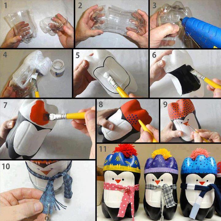 Como hacer un Pingüino Lindo De Botella De Plástico